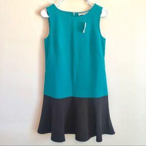 LOFT Teal Black Color Block Ruffle Flounce Dress